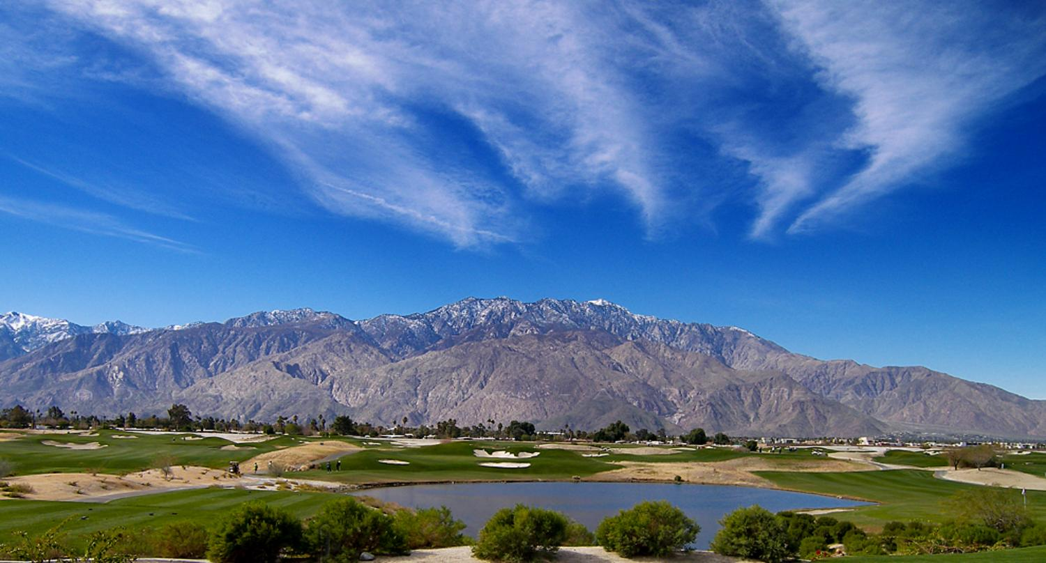 Palm Springs Vacation Rentals with a Scenic view of a golf course with mountains in the background